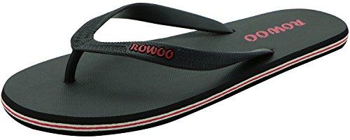 ONEHOO Men's Sandals Striped Beach Flip-Flops (US9/EU42, Black) ()