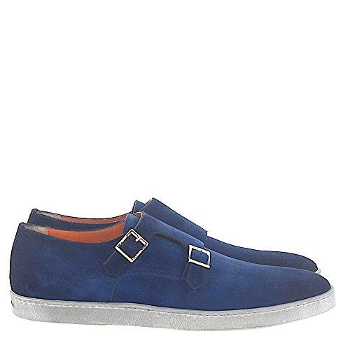 Santoni Sneaker Double-monnik 15.506 Suede Donkerblauw