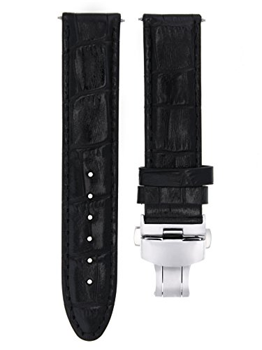 20MM Leather Watch Strap Band Clasp for Omega SPEEDMASTER MOONWATCH Black #7