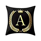 Letter Pillow Case Covers Bronzing Throw Pillow Case 18x18'' English Alphabets Cushion Cover Modern Square Pillowcase for Home Sofa Couch Decor (A)