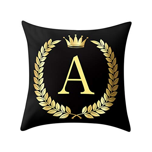 Orcbee  _45x45cm Pillow Cover Black and Gold Letter Pillowcase Sofa Cushion Cover Home Decor (A)