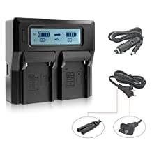Fomito Dual Digital Battery Charger with LCD Screen for Sony NP-F970 F960 F950 F750 F550 FM50 HDV Batteries