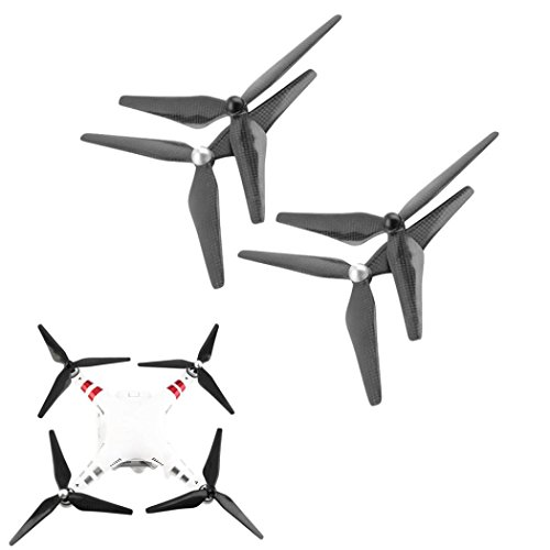 Cinhent Drone Accessories Kit, Carbon Fiber 9450 Propeller CW/CCW 3-Blade Prop For DJI Phantom 1/2/3, Low-Noise & Durable, Portable + Easy to Inshtall, Quadcopters Parts (4 PCS) by Cinhent Drone Accessories Kit