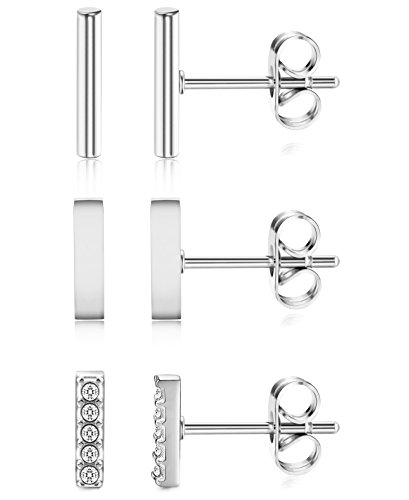 ORAZIO+3+Pairs+20G+Stainless+Steel+Mini+Bar+Earring+Line+Ear+Studs+Stick+Stud+Earrings+For+Women+and+Men+Silver-tone