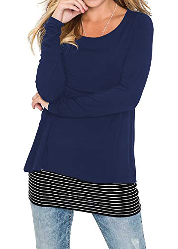 Jusfitsu Women's Casual Layered Tunic Long Sleeve Striped T Shirt Tops Blouses Navy Blue M