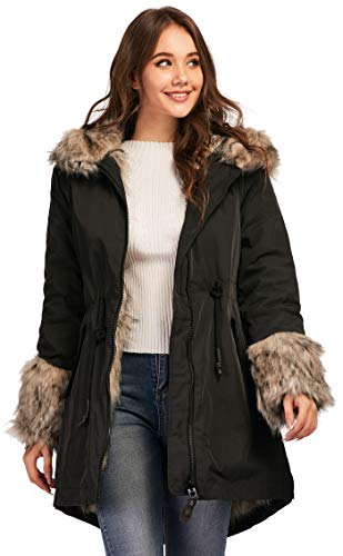 TIENFOOK Womens Parka Jacket Winter Coat with Drawstring Waist Thicken Fur Hood Lined Warm Reversible Design Outwear Jacket (Black, Small)