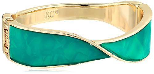 Kenneth Cole Women's Blue Shell Sculptural Twist Hinged Bangle Bracelet, Blue Mop, One Size