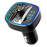 Sunjoyco Bluetooth FM Transmitter, Wireless in-Car Audio Adapter Radio Receiver Kit with Hands-Free Calling, QC3.0 Dual USB Car Charger, Music Player Supports TF/SD Card, USB Disk
