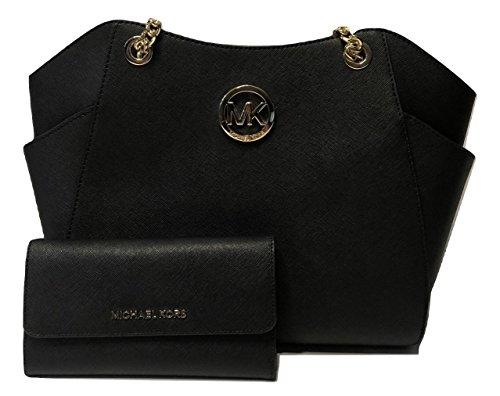 MICHAEL Michael Kors Jet Set Travel Large Chain Shoulder Tote bundled with Michael Kors Jet Set Travel Trifold Wallet (Black) Black Tri Fold Handbag