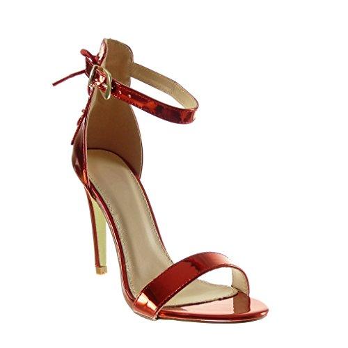 Angkorly - Scarpe da Moda scarpe decollete sandali stiletto sexy donna merletto tanga Tacco Stiletto tacco alto 10.5 CM - Rosso