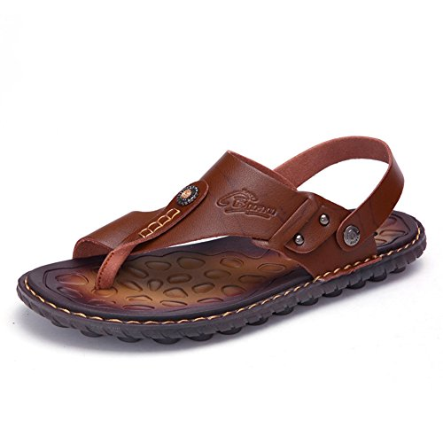 OHCHSH Flip Flops Mens Sandals Toe Ring Style Flat Sandals Shoes Microfiber Leather US - Leather Toe Ring