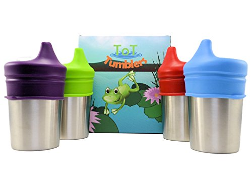 Stainless Steel Sippy cups with Silicone Sippy Lid for babies toddlers and kids Set of 4 8 ounce cups and 4 lids (Stainless Tote Steel)