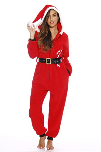 6412-M Just Love Adult Onesie / Onesies / Pajamas, Santa with Candy Cane, Medium -