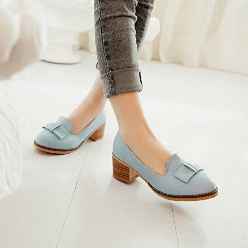 Latasa Mode Féminine Bow Chunky Mi-talon Slip Sur Mocassins Chaussures, Pompes Bleu