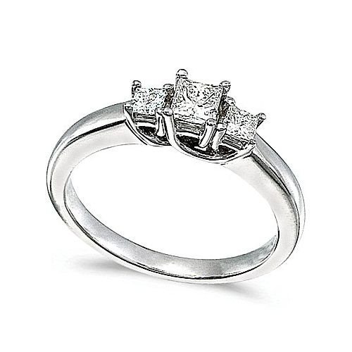 14kt White Gold 3 Stone Princess Cut 0.50ct Diamond Trellis - Trellis Ring Cut Diamond
