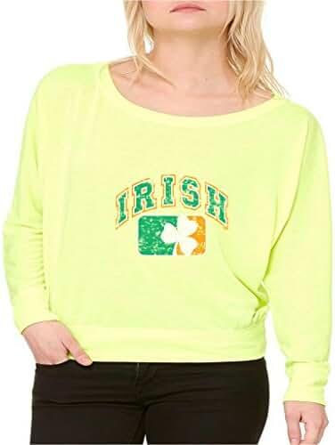 Proud Irish Shamrock Ireland Flag Long-Sleeve St Patricks Irish Day Flowy Shirt