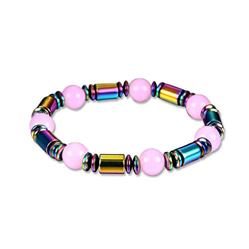 Bobury Round Pink Gem Weight Loss Magnetic Therapy Cylindrical Stone Beads Bracelet Aniti Fatigue