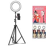LIJUEZL LED Selfie Ring Light with Tripod Stand & Cell Phone Holder, Mini Led Camera Ringlight for Live Stream/Makeup,light/16CM