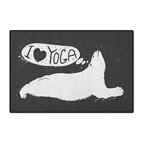 Yoga,Door Mat Increase,Cute Polar Bear Saying I Love Yoga Grunge Wildlife Illustration Meditation,Floor Mat Pattern,Charcoal Grey White,Size,32
