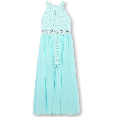 Speechless Girls' Big High Neck Maxi Romper Dress, New Aqua Blue, 14 -
