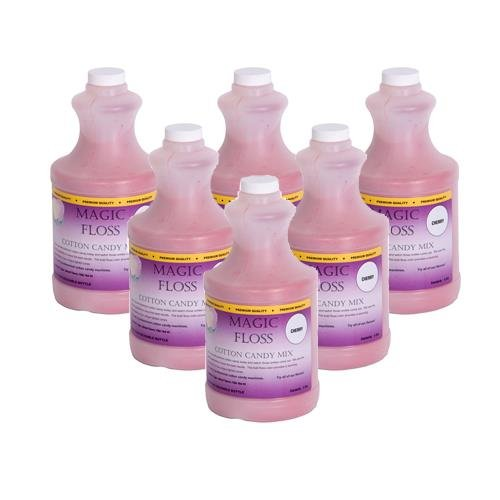 4 lbs Magic Floss Sugar in Easy Pour Bottle (Set of 6) Flavor: Cherry by Paragon International