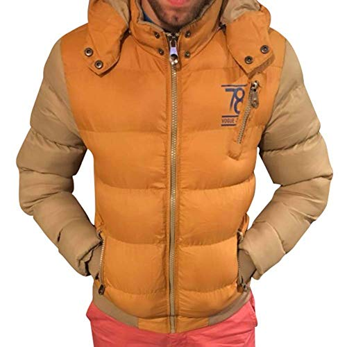 Sleeve Winter Pockets Coat Down Detachable Men's Hat Hooded Jacket BoBoLily Zipper with Jacket Warm Long Side Padded Gelb Dunkel wqv6cXa