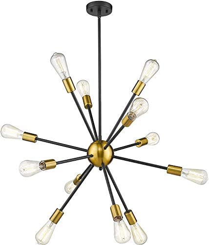 Harriet 12 Lights Modern Industrial Mid Century Pendant Lighting Black Brass Brushed Sputnik Chandeliers, Ceiling Light Fixture for Living Room, Bedroom, Dining Room, Bar, Restaurant, HPL01BG-12