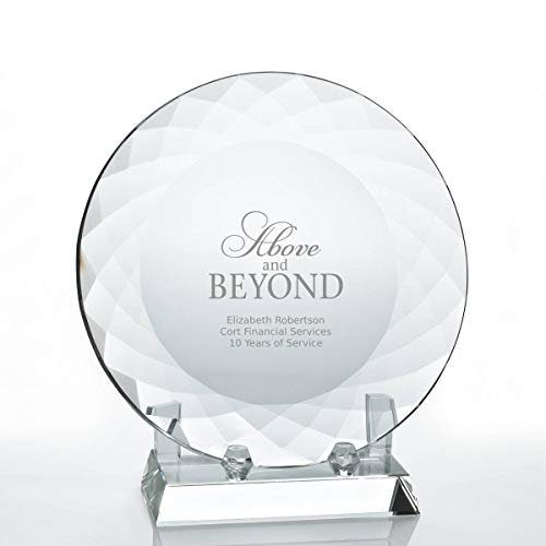 Engraved Trophy - Clear Crystal - Circle Plate with Rectangular Base - Award for Employees - Personalized Engraving Up to Three Lines and Pre-Written Verse Selection - Comes in Gift Box