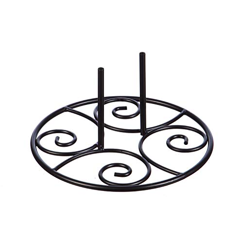 Swirl Garden - Evergreen Flag Beautiful Black Metal Elegant Swirl Stand Base - 11