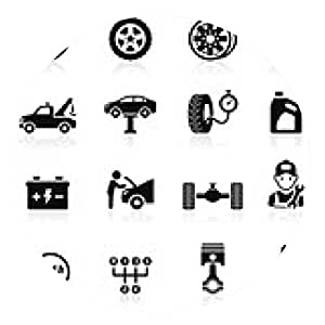 alfombrilla de ratón Servicio de coche icono de mantenimiento set1. Ilustración del vector. - ronda - 20cm