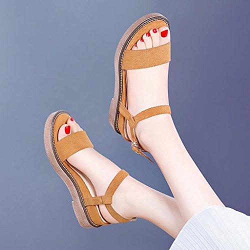 sandalias Sandalias De Planas Zapatos Roma B Coreana Tamaño Moda Gruesas Cuñas Fafz A 35 Verano color Suela Plataformas xqdIPt