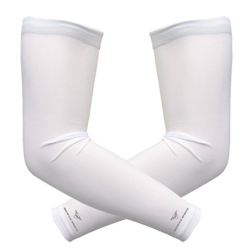 1 Pair Bucwild Sports Arm Cooling Sun Protection Compression Arm Sleeves - Youth & Adult Sizes - Baseball Basketball Golf Tennis Running (White, Small/Med (Adult)