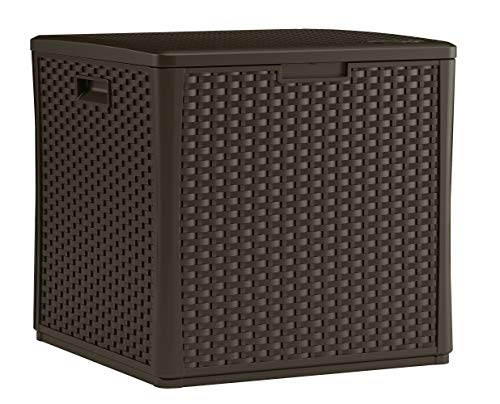 Suncast 60-Gallon Medium Deck Box - Lightweight Resin Indoor/Outdoor Storage Container and Seat for Patio Cushions and Gardening Tools - Store Items on Patio, Garage, Yard - Java