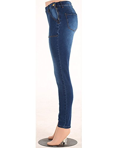 Pantaloni D'epoca Skinny Come Vita Chiusura Cerniera Immagine Elastici Alta Laterale Blu Jeans Slim Donna g5q4x0waUT