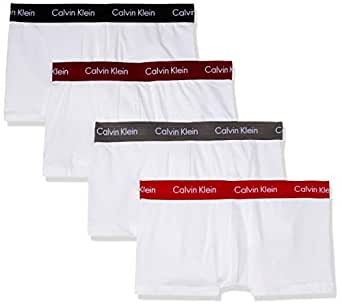 Calvin Klein Men's Cotton Stretch 4-Pack Low Rise Trunk, White, S