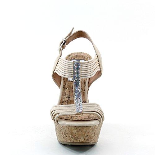 Brand New Brieten Womens T Strap Ankle Strap Cuff Metallic Ornaments Rhinestone Bukle Platform Wedge Dress Sandals o9oxy