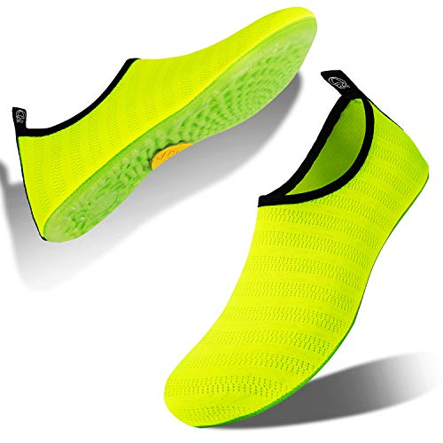 HMIYA Water Shoes Aqua Socks for Womens Mens Barefoot FBA-Swim Shoes Quick-Dry Beach Pool Socks for Surf Yoga Summer Outdoor Exercise (Bright Green, 36/37EU)