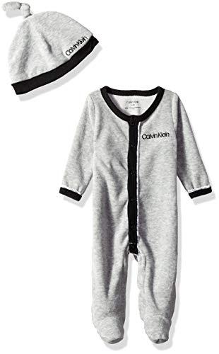 Calvin Klein Baby Boys Gift, 2 Piece Velour Set - Black, Heather Grey, 3-6 Months -