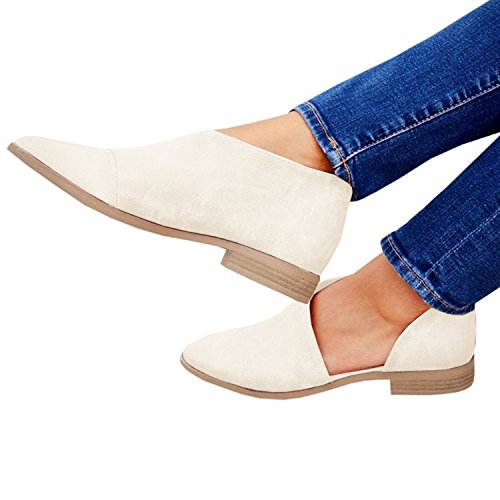 Casual Pointed Cut Beige Loafer Dressy Ankle Womens On Office Slip Toe Boot Casual on Slip FISACE Out AX0Bqw71x