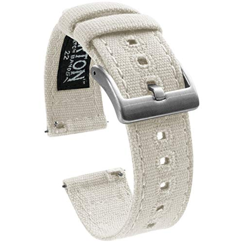 - 18mm White - Barton Canvas Quick Release Watch Band Straps - Choose Color & Width - 18mm, 20mm, 22mm