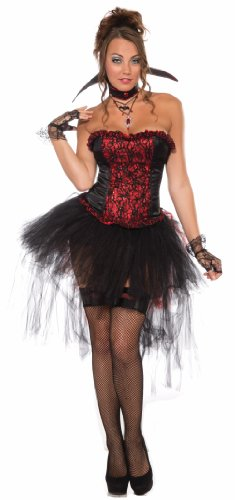Forum Ruffle and Lace Corset Style Costume Top, Black/Red, One Size - Red Corset Dress