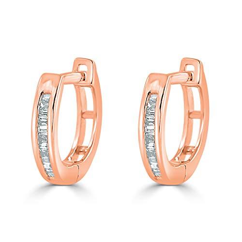 Diamond Wish 10K Rose Gold Baguette Diamond Huggie Hoop Earrings (1/10 cttw, O.White, I2-I3)