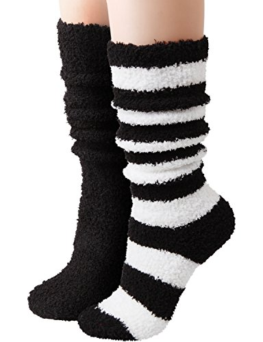 HASLRA Knee High Soft Warm Microfiber Fuzzy Socks 2 Pairs