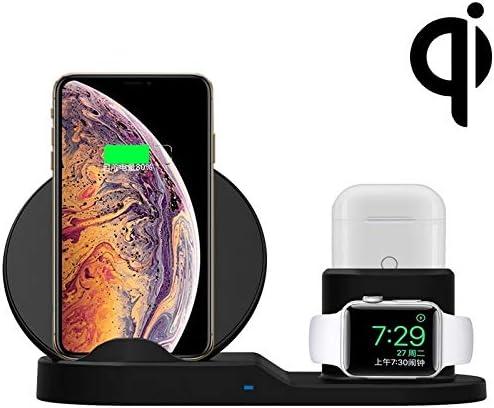 KSC チー標準スマートフォン・時計&ポッド(ブラック)1つの高速ワイヤレス充電ホルダーでAYS N30 3 (Color : Black)