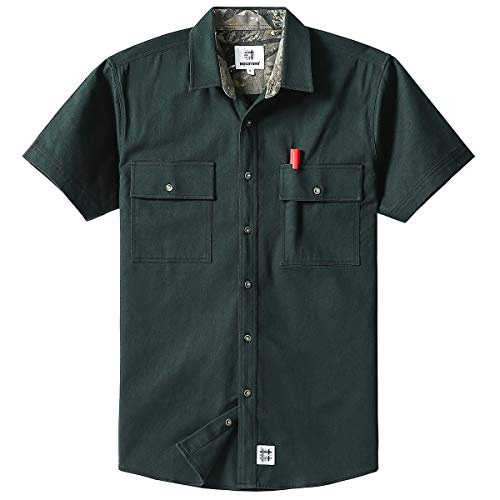 Men's Short Sleeve Canva Button-Up Work Shirt Army Green Meduim ()