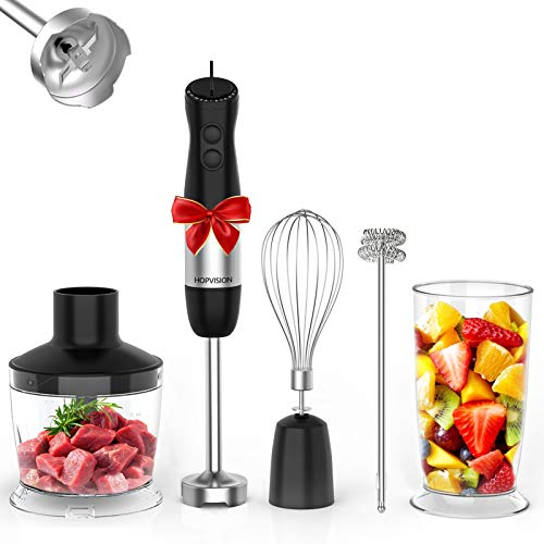 Immersion Blender, HOPVISION 1000W 12-Speed Hand Blender, 5-in-1 Hand Blender Set with Turbo Mode, Includes Stainless…