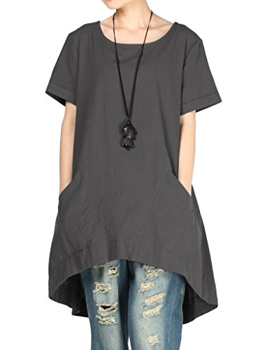 Mix Wide Leg Linen - Mordenmiss Women's Cotton Linen Tunic Tops Hi-Low Dresses with Pockets XL-Dark Gray
