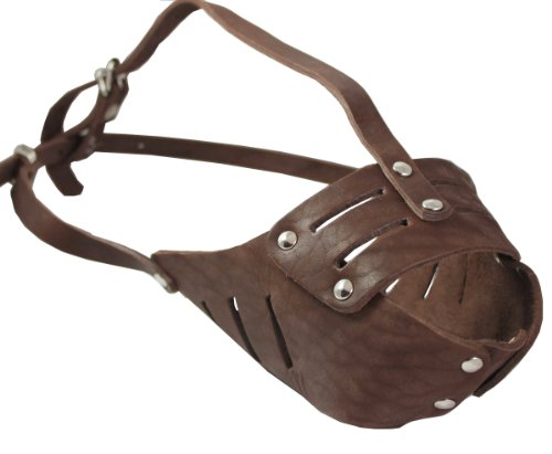 Real Leather Cage Basket Secure Dog Muzzle #118 Brown - Pit Bull, AmStaff (Circumference 11.8
