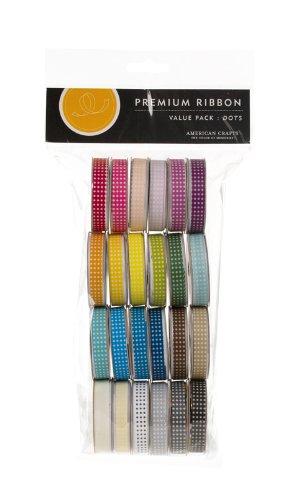 American Crafts Dot Grosgrain Ribbon Value Pack 24 1-Yard Spools, Color Set 1