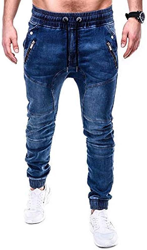 N / A LQYDP jeansy Side Stripes jeansy Moda Streetwear męskie skinny dżinsy stretch Slim Casual Jeans: Odzież
